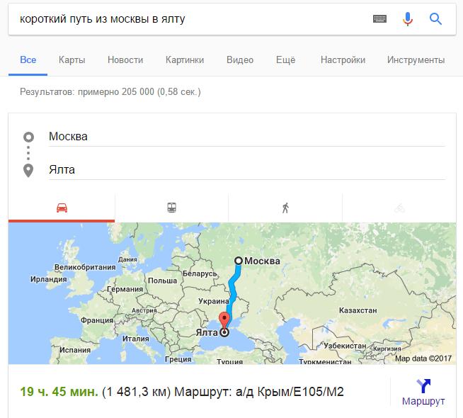 Самый короткий путь из Москвы до Ялты